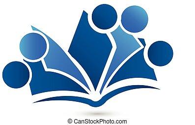 jel, vektor, csapatmunka, könyv