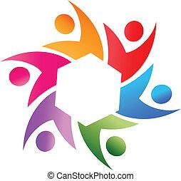 jel, vektor, csapatmunka, társadalmi