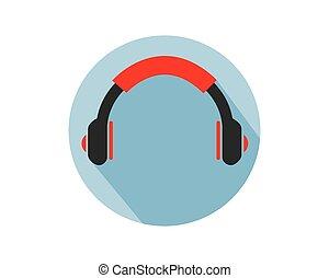jel, vektor, fülhallgató, ábra, ikon