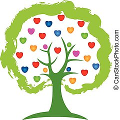 jel, vektor, fa, szeret szív