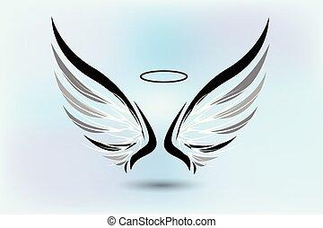 jel, vektor, kasfogó, angyal