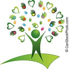 jel, zöld fa, kézbesít