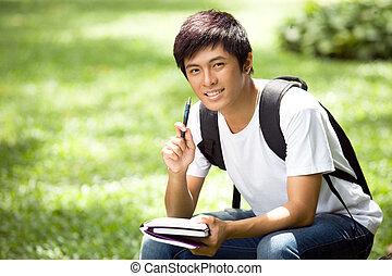 jelentékeny, ázsiai, diák, fiatal