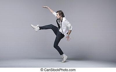 jelentékeny, akrobatikus, póz, ember