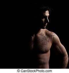 jelentékeny, ember, szexi, portré, félig meztelen