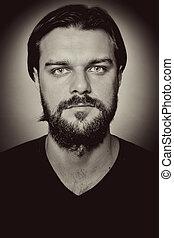 jelentékeny, portré, szakáll, ember