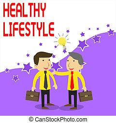 jelentés, colleagues, lifestyle., eljegyez, solution., szöveg, osztozás, egészséges, gondolat, két, rövid, él, fogalom, businessmen, elfoglaltság, kézírás, fehér, írás, csomagol, gyakorlás, fizikai