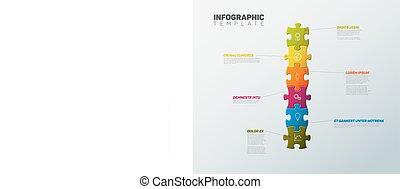 jelent, rejtvény, infographic, sablon, vektor
