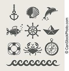 jelkép, állhatatos, tengeri, tenger, ikon