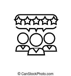 jelkép, áttekintés, egyenes, illustration., aláír, szolgáltatás, 5, lineáris, vektor, fogalom, icon., csillaggal díszít