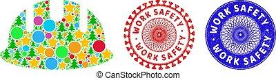jelkép, építő, biztonság, mózesi, munka, hardhat, imprints, karácsony, gumi, csiszolt