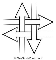 jelkép, értesülés, vektor, nyílvesszö, egyszerű, kommunikáció, ikon, fogalom, metszőpont, aláír, keresztező, cserél, összeköttetés