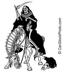 jelkép, ülés, halál, ló