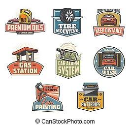 jelkép, autó, szolgáltatás, fenntartás, ikonok