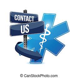 jelkép, bennünket, érintkezés, tervezés, ábra orvosi