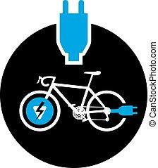 jelkép, bicikli, elektromos