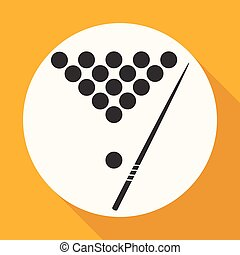 jelkép, biliárd-, játék, icon.