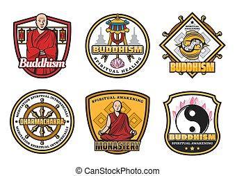 jelkép, buddhizmus, cégtábla, szerzetes, vallás