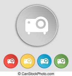 jelkép, buttons., ikon, vetítőgép, vektor, cégtábla., öt, lakás