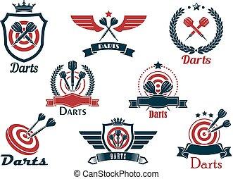 jelkép, címertani, darts, emblémák, sport