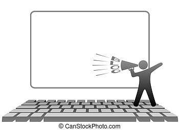 jelkép, computer billentyűzet, hangszóró, blogs, ember