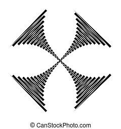 jelkép, csíkoz, kereszteződnek alakzat, vektor, tervezés, geometriai, ikon