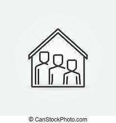 jelkép, család, tető, icon., egyenes, épület, megállít, otthon, vektor, alatt