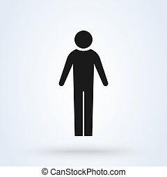 jelkép, egyszerű, modern, vektor, hím, ikon, árnykép, illustration., tervezés