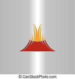jelkép, elem, vektor, tervezés, vulkán, ikon