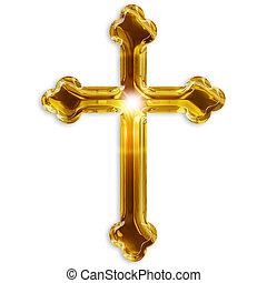 jelkép, elszigetelt, feszület, háttér, fehér, vallásos