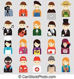 jelkép, emberek, különféle, ikonok