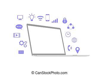 jelkép, fehér, háttér., elszigetelt, kommunikáció, laptop