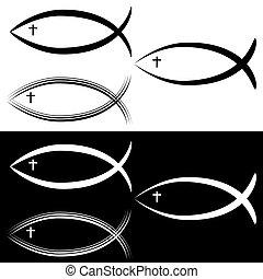jelkép, fekete, fish, keresztény, fehér, állhatatos, jézus