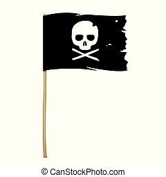 jelkép, fekete, lobogó, koponya, kalóz