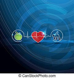 jelkép, fogalom, kardiológia, egészséges, fényes, eleven