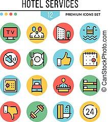jelkép, grafikus, hotel, jutalom, áttekintés, ikonok, set., modern, ábra, gyűjtés, vektor, lakás, icons., quality., szolgáltatás, egyenes, alapismeretek, híg