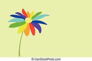 jelkép, háttér., seven-color, virág, festett, lgbt, fény, szelíden, kék
