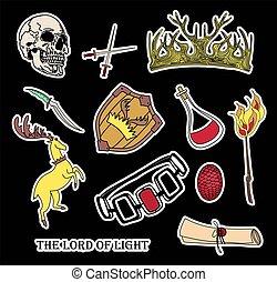 jelkép, hét, böllér, varázslatos, kingdoms.