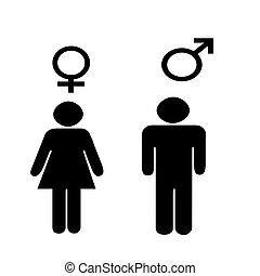 jelkép, hím, illus, női