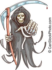 jelkép, halál, mindenszentek napjának előestéje, scythe., kaszáló