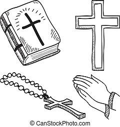 jelkép, hand-drawn, keresztény, ábra