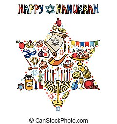 jelkép, hanukkah, card., izrael, doodles, star., dávid, köszönés