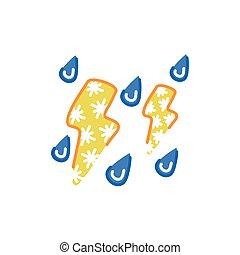 jelkép, időjárás, elszigetelt, ikon, megrohamoz, elektromos
