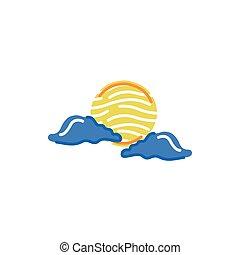 jelkép, időjárás, nap, elszigetelt, elhomályosul, ikon