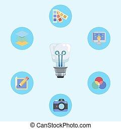 jelkép, ikon, aláír, gondolat, vektor
