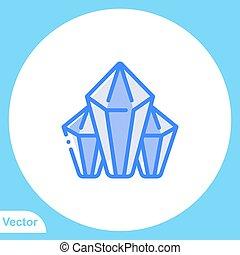jelkép, ikon, aláír, gyémánt, vektor