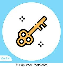 jelkép, ikon, aláír, kulcs, lakás, vektor