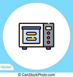 jelkép, ikon, aláír, mikrohullám, lakás, vektor