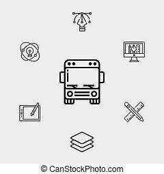 jelkép, ikon, aláír, vektor, autóbusz