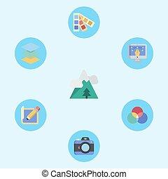 jelkép, ikon, aláír, vektor, hó